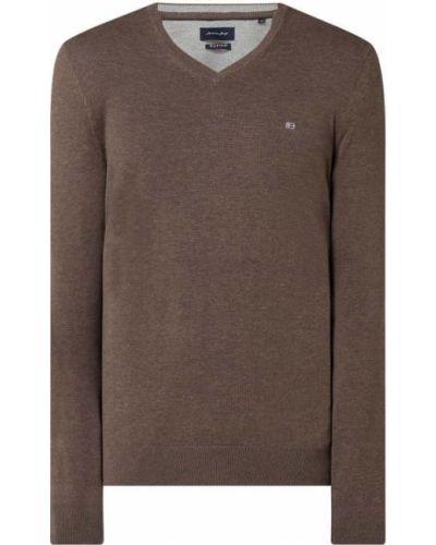 Prążkowany brązowy sweter bawełniany Christian Berg Men