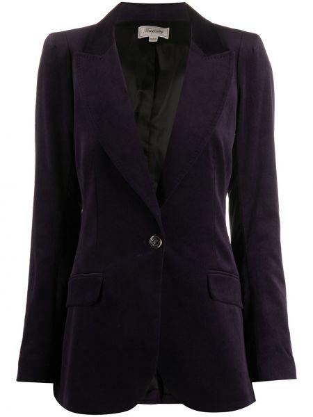 Бархатный однобортный удлиненный пиджак с карманами Temperley London