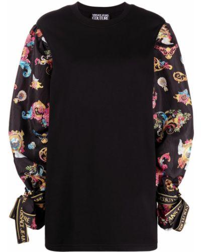 Прямое черное платье макси с длинными рукавами Versace Jeans Couture