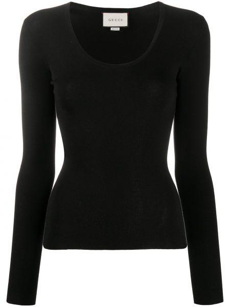 Kaszmir trykotowy czarny top z haftem Gucci