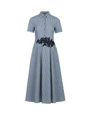 Хлопковое серое платье с капюшоном для офиса Via Torriani 88