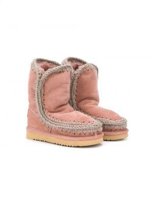 Розовые зимние ботинки из овчины без застежки Mou Kids