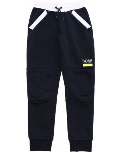 Prążkowane niebieskie spodnie bawełniane Hugo Boss