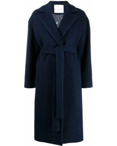 Коралловое шерстяное длинное пальто с поясом Giada Benincasa