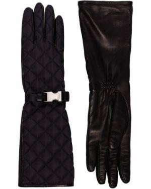 Стеганые нейлоновые черные перчатки Prada