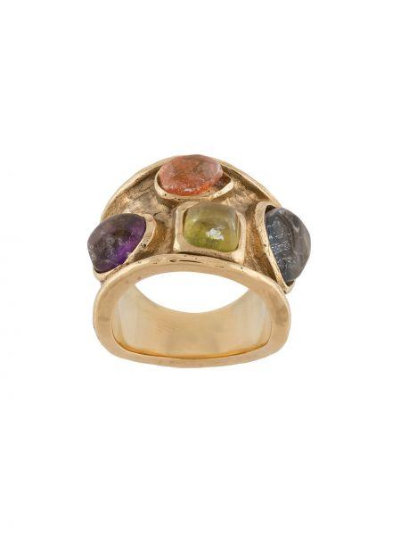Золотистое желтое кольцо с декоративной отделкой Goossens
