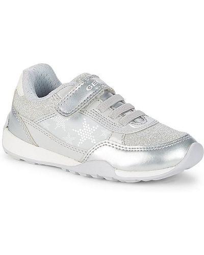 Кожаные белые кроссовки на шнурках Geox