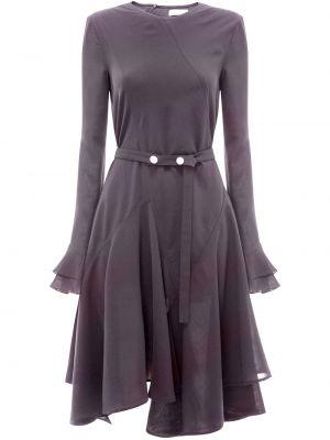 Черное асимметричное платье годе с оборками с вырезом Jw Anderson