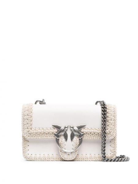 Белая кожаная сумка через плечо на молнии Pinko