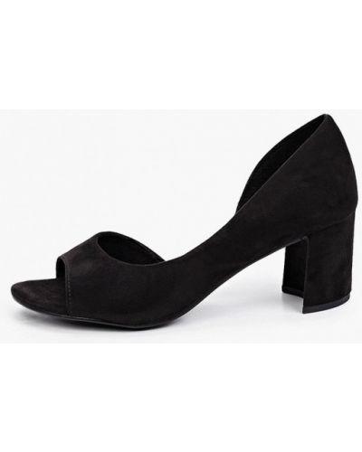 Черные кожаные туфли с открытым носком Marco Tozzi