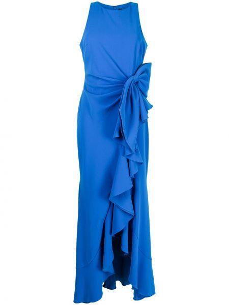 Niebieska sukienka bez rękawów Badgley Mischka