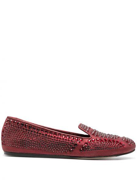 Кожаные красные слиперы на плоской подошве без застежки Le Silla