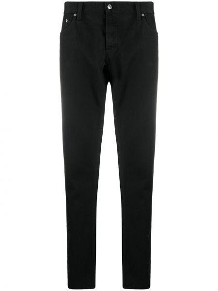 Bawełna czarny jeansy o prostym kroju z łatami z paskiem Department 5