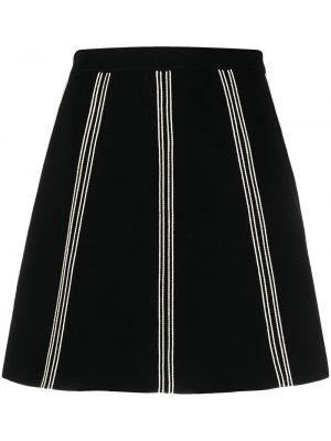 Черная юбка в полоску из вискозы Sandro Paris