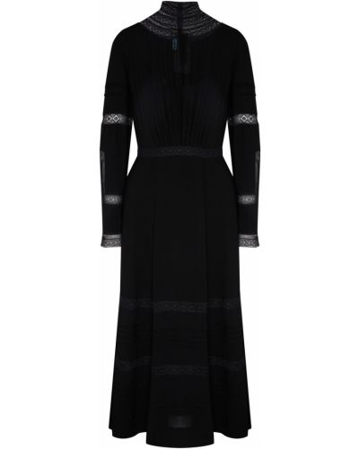 Кружевное с рукавами черное платье миди Prada