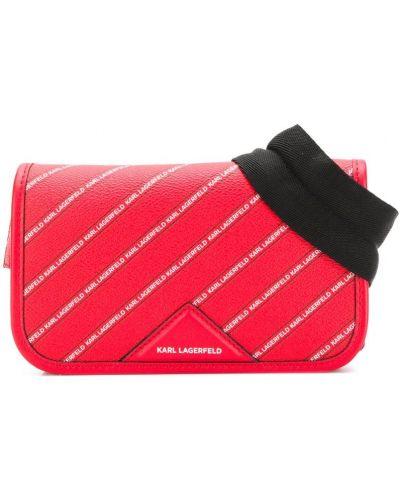 Поясная сумка красная с нашивками Karl Lagerfeld