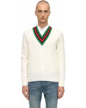 Sweter wełniany - biały Gucci