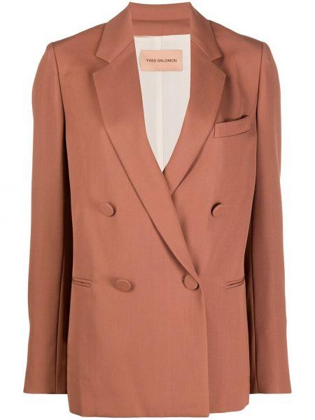 Розовый удлиненный пиджак двубортный с карманами Yves Salomon