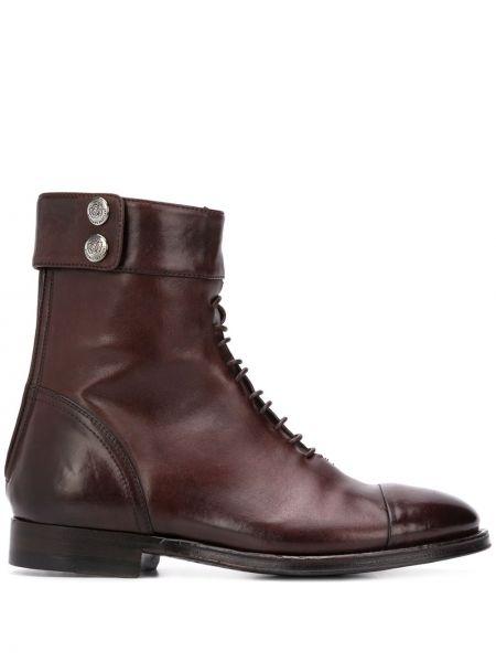 Однобортные коричневые сапоги на шнуровке на плоской подошве Alberto Fasciani