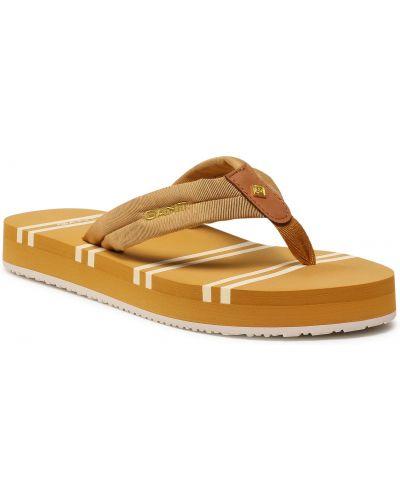 Żółte sandały japonki Gant