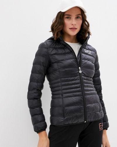 Теплая черная утепленная куртка Ea7