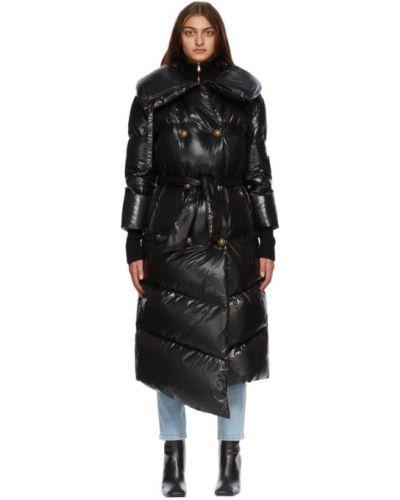 Стеганое пуховое черное длинное пальто Balmain