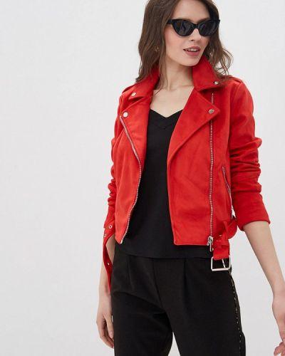 Кожаная куртка весенняя красная Jennyfer