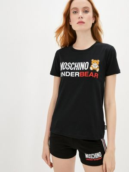 Футболка черная футбольный Moschino Underwear