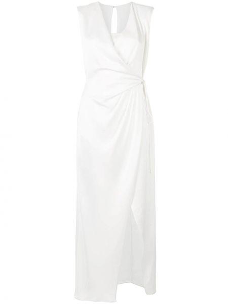 Белое платье миди с запахом без рукавов на молнии Manning Cartell