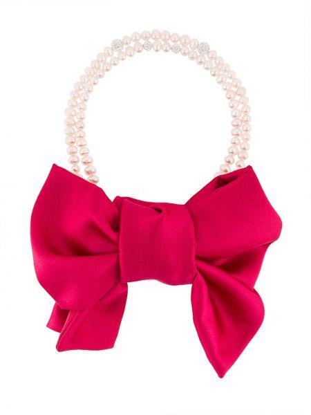 Różowy naszyjnik perły z jedwabiu Magda Butrym