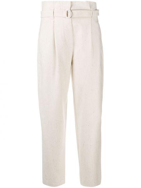 Белые брючные шерстяные укороченные брюки с высокой посадкой Tela