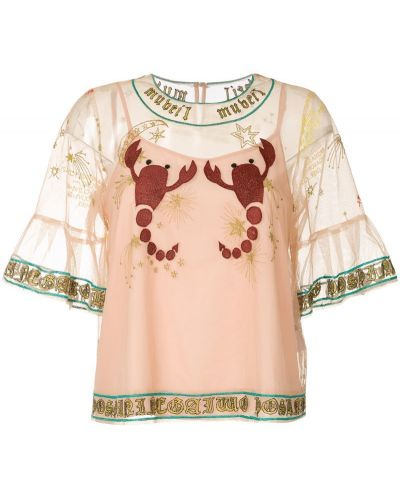 Блузка с вышивкой прозрачная Muveil