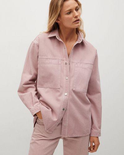 Fioletowa koszula bawełniana z długimi rękawami Mango