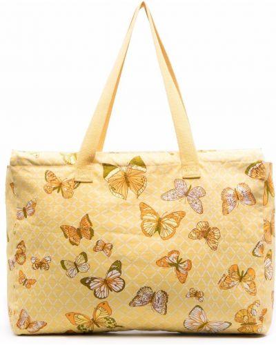 Żółta torba na ramię bawełniana z printem Hermes