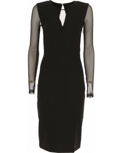 Czarna sukienka wieczorowa z długimi rękawami Karl Lagerfeld