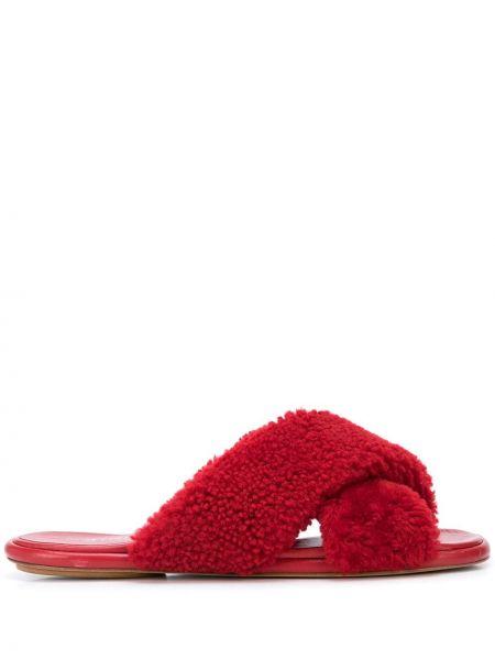 С ремешком открытые кожаные красные сандалии Rosetta Getty