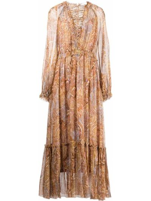 Платье миди с длинными рукавами - оранжевое Zimmermann