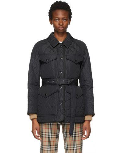 Черная стеганая длинная куртка с воротником Burberry