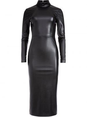Черное кожаное платье макси с открытой спиной с длинными рукавами Alice+olivia