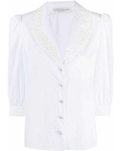 Biała koszula z haftem z jedwabiu Alessandra Rich