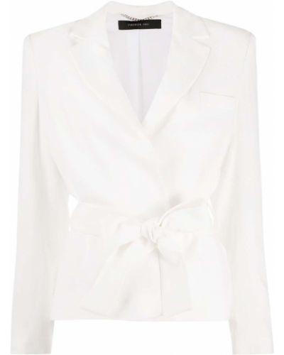 Однобортный белый удлиненный пиджак с поясом Federica Tosi