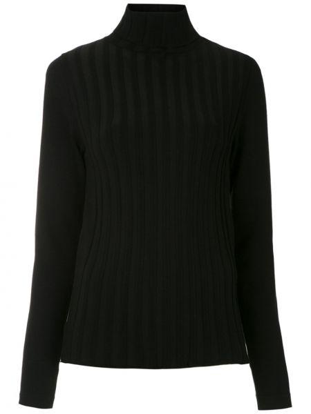 С рукавами прямая черная блузка с длинным рукавом из вискозы Gloria Coelho