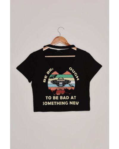 T-shirt bawełniana - czarny Trendyol