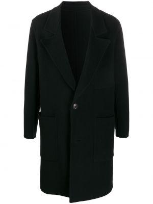 Czarny płaszcz wełniany z długimi rękawami Ami