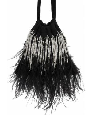 Ażurowa satynowa czarna torebka mini Ingie Paris