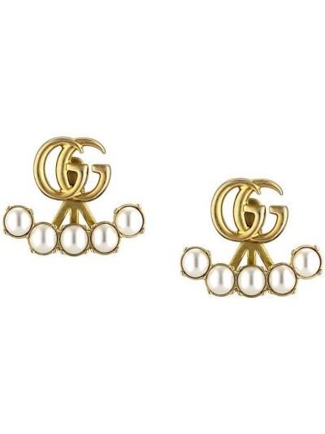 Złote kolczyki sztyfty perły Gucci