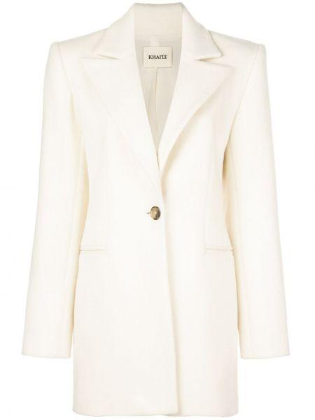 Белое пальто с капюшоном из альпаки Khaite