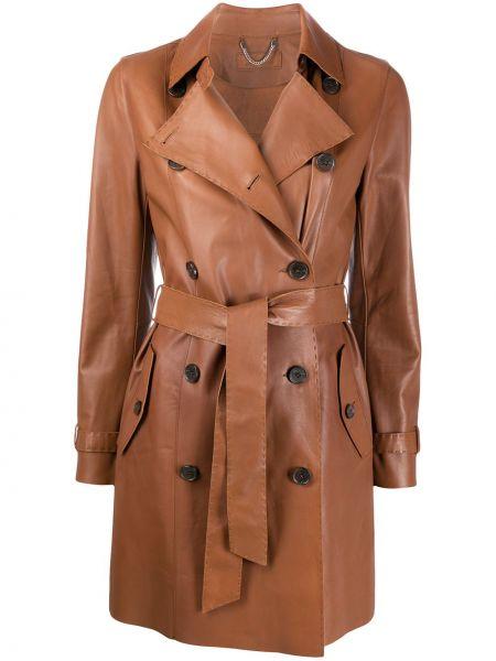 Коричневое кожаное пальто с запахом с вырезом с карманами Desa 1972