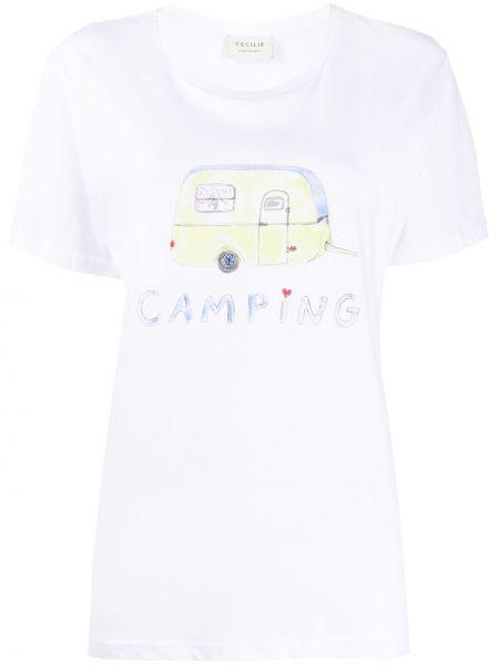 Белая хлопковая футболка с круглым вырезом круглая Cecilie Copenhagen