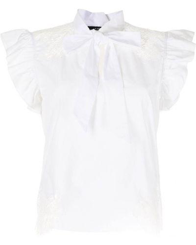 Кружевная белая блузка с бантом Amen.
